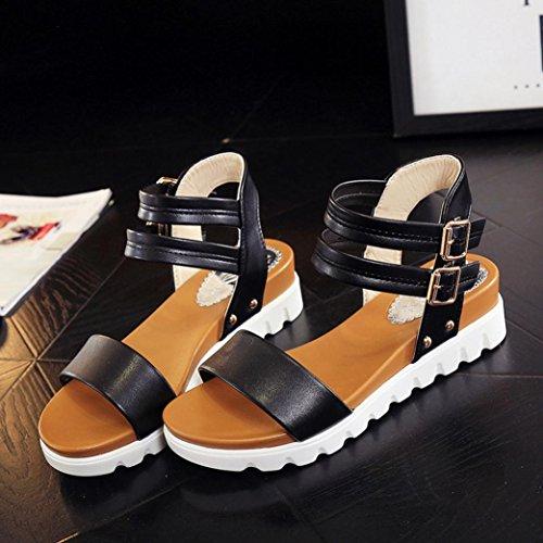 Euone Fashion Women Simple Sandals Leather Flat Sandals Ladies Shoes Black wU5KzI