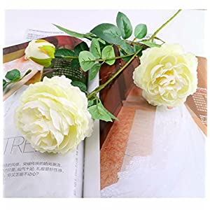 tutu.vivi Fake Flowers Artificial Silk Peony Bouquets Wedding Party Home Decoration,Pack of 2 (Ivory) 111