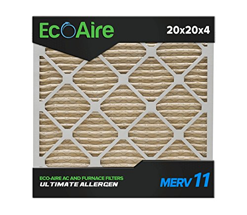 Eco-Aire 20 x 20 x 4 Premium MERV 11 Pleated Air Conditioner Filter, Box of 6
