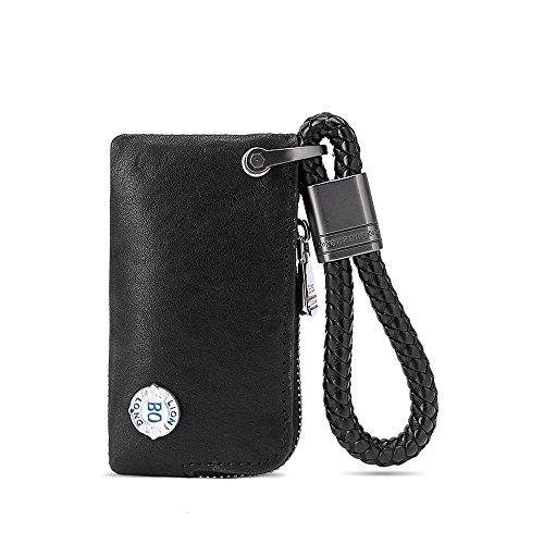 Car Key Chain Bag, Leather Universal Car Key Holder Keyring Zipper Case for Auto Remote Key Fob Cover Men Women (Black) (Key Ring Auto Leather)