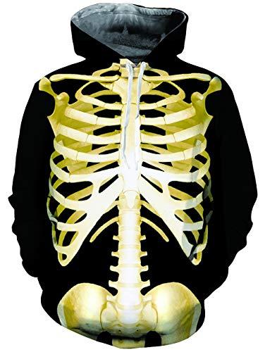 3d Mens Pocket Sleeve Pullover Sweatshirts Fanient Womens Hoodie Fleece 2 Print Scheletro Long With S1tqRxw