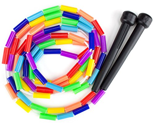 K-Roo Sports Rainbow 7-Feet Jump Rope with Plastic Beaded Segmentation   Colorful Exercise Rope for Kids   Indoor/Outdoor Fun Activity