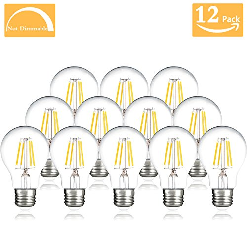A19 LED Bulb Non-Dimmable,4W (40W Equivalent), 4000K Warm Light, 400lumens,A19 Wide Flood Light Bulb, E26 Medium Base Great for Kitchen, Bathroom,Living Room, Outdoor Fixtures (12 Pack) - 52w Floodlight