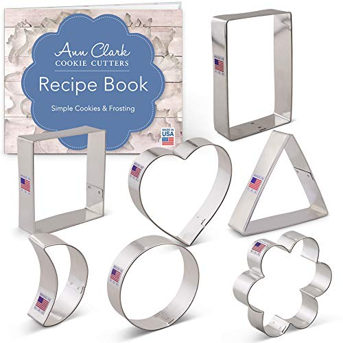 - Geometric Classic Shape Cookie Cutter Set with Recipe Booklet - 7 piece - Heart, Circle, Square, Rectangle, Triangle, Crescent Moon, Flower - Ann Clark - US Tin Plated Steel