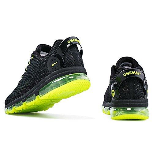 Onemix Heren Casual Lucht Sneakers Kleurrijke Weerspiegelingen Atletische Sport Loopschoenen Lichtgroen