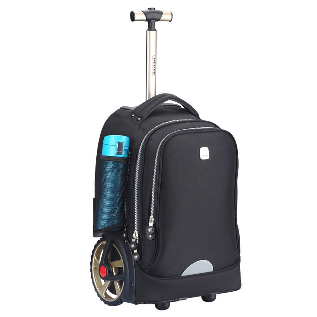 車輪付きトロリーバックパックキャスター付きバックパックナイロンローリングバックパック旅行エグゼクティブモバイルオフィスビジネスハンドキャビン荷物について (色 : ブラック, サイズ さいず : 47*33*25cm) B07P971VCF ブラック 47*33*25cm