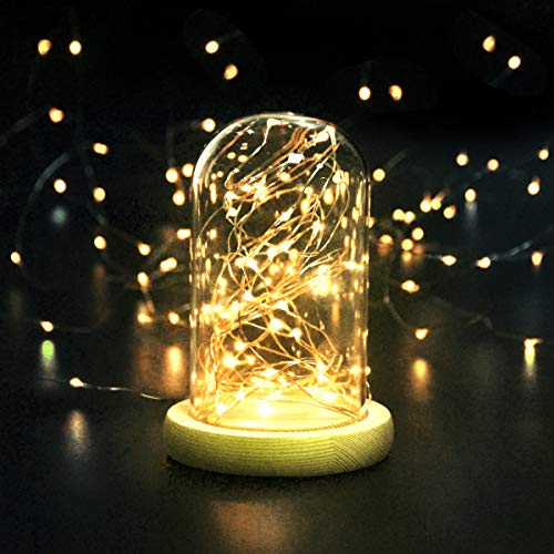 cshare Led Fairy Lights Battery Operated, 1 Pack 16ft/50 LEDs Mini Battery Powered Copper Wire Starry Fairy Lights for Bedroom, Christmas, Parties, Wedding, Centerpiece, Decoration ( Warm White)