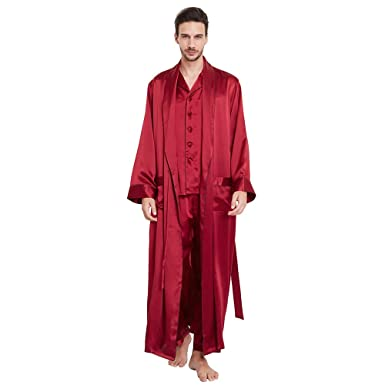 LilySilk 3pcs Silk Pajamas & Robe Set for Men 22 Momme Contra Full Length Lounge Wear