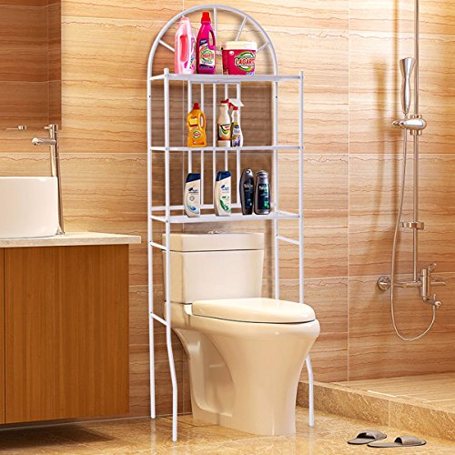 Tangkula 3 Shelf Over The Toilet Bathroom Space Saver, Towel Storage Rack Organizer White