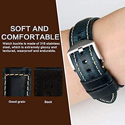 MAIKES Watch Band, Vintage Oil Wax Leather Strap 5 Colors 20mm 22mm 24mm 26mm Watchband Greasedleather Wristband by MAIKES