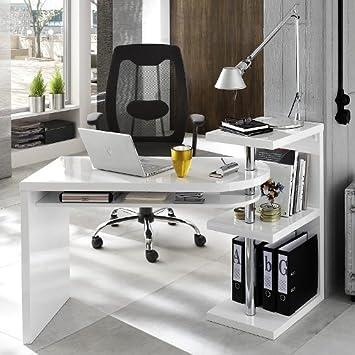 Design Schreibtisch/ Ecktisch TARANTO DUO, weiß Hochglanz, inkl ...