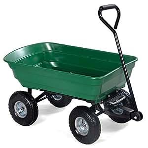Garden Dump Cart Dumper Wagon Carrier Wheel Barrow Air Tires Heavy Duty 650Lbs.