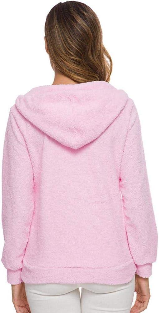 Moda Mujer Solid Zip Up Cosy Fuzzy Fleece Pullover Sudadera Abrigo Outwear Tops Azul Agua 3XL