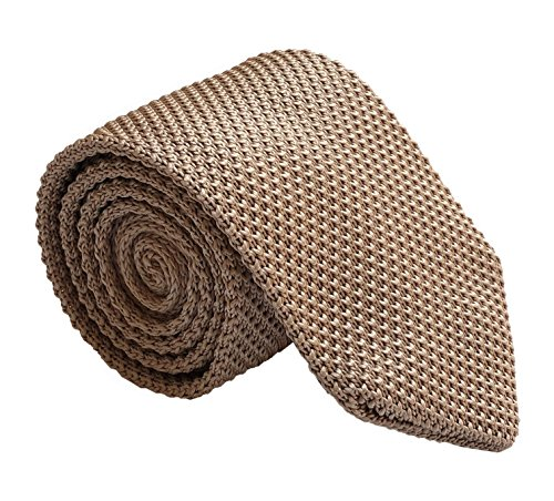 Men's Handmade Ties Fashion Dark Champagne Smart-Casual Wear Dress Self - Cashmere Silk Tie Knit