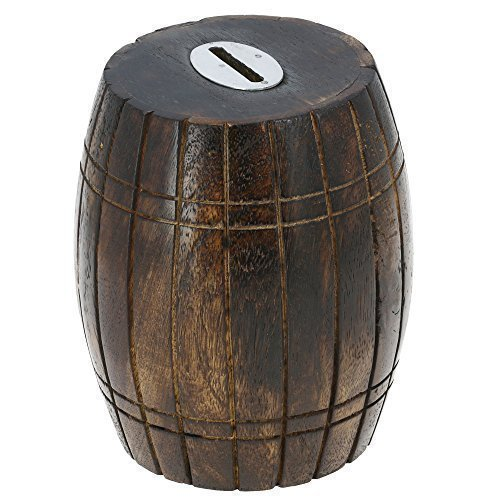 (Antique Inspired Barrel Shaped Wooden Money Holder Coin Bank for Kids by)