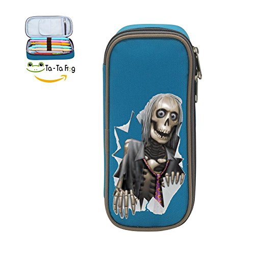 Halloween Skull Skeleton Witch Pen Bag Canvas Pencil Case Big Capacity Pen Bag Makeup Pouch Durable Students Stationery With Double (Simple Halloween Makeup Tumblr)