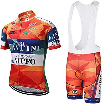 ZHLCYCL Traje Ciclismo Hombre, Maillot Ciclismo y Culotte Ciclismo con 5D Gel Pad para Verano Deportes al Aire Libre Ciclo Bicicleta, Fan-Orange, L: Amazon.es: Deportes y aire libre