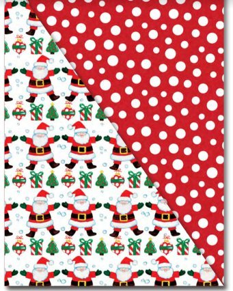 - Santa / Red & White Polka Dot Reversible (Double Sided) Christmas Gift Wrap Paper - 18 Foot Roll