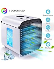 Portable Mini Air Cooler 4 in 1 Personal Evaporative Cooler, Humidifier, Purifier with 7 Colors LED Light, for Home, Room, Office