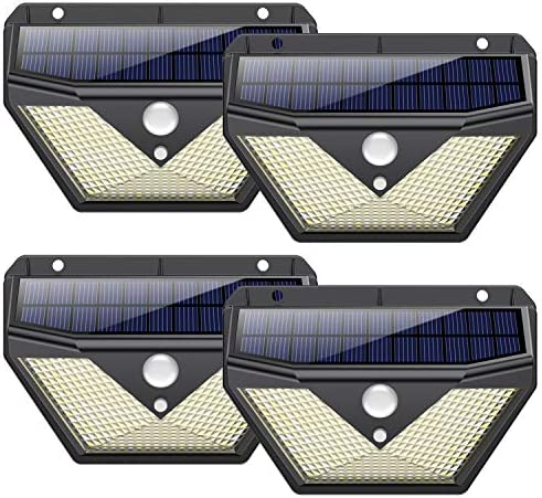 【4 Pezzi 】Luce Solare Led Esterno, Trswyop Lampade Solari a led da Esterno con Sensore di Movimento, 270ºIlluminazione Lampada Solare 3 Modalità Impermeabile Luci Solari per Esterno