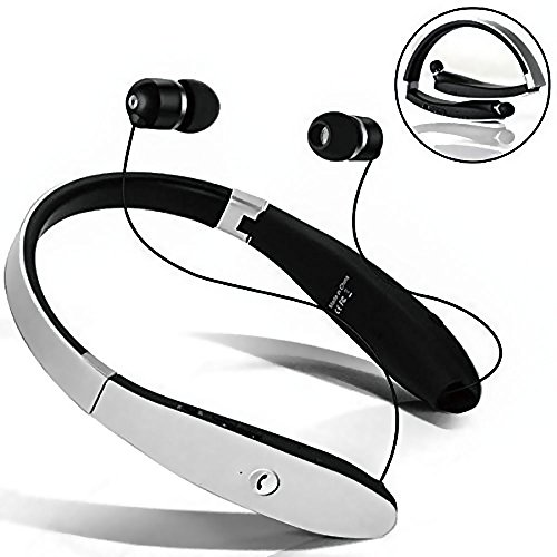 Hands Free White Headset (Bluetooth Headsets Aottom Sweatproof Neckband Retractable Foldable Wireless Bluetooth Headphones Stereo Noise Cancelling Handsfree Sport Bluetooth Earphones Earbuds with Mic - White)