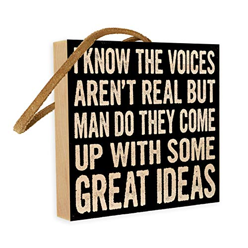 I Know the Voices Arent Real, But Man Do They Come Up With Some Great Ideas   4-inch by 4-inch   Wooden Square Block sign With Funny Quote from Pintrest