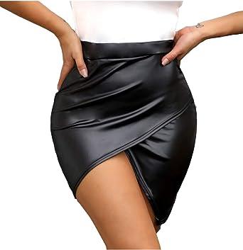 Faldas De Cintura Alta De Imitación De Cuero Fruncido Irregular ...