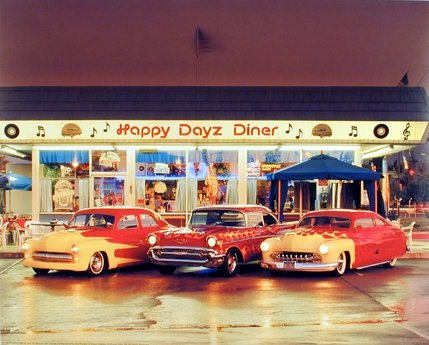Impact Posters Gallery Wall Decor Happy Dayz Diner 57 Chevy Bel Air Mercury Vintage Car Picture (8x10)