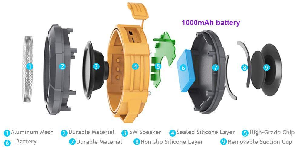 Shower Speaker, IPX5 Wireless Speaker with Suction Cup, Waterproof, 4W Driver, Buit-in Mic (Orange)