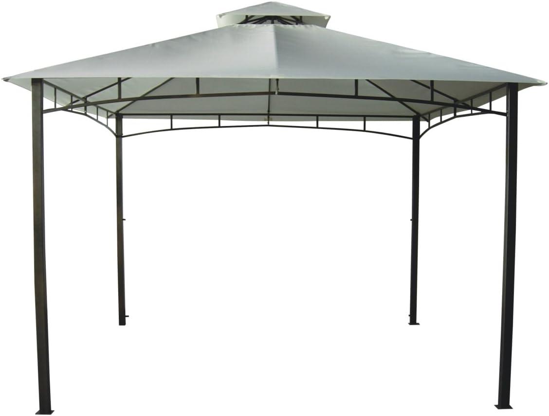 Bars EASYSHOP Gazebo da Giardino 3 X 4 con Telo Impermeabile Ecr/ù in Metallo e Ferro Grigio Antiruggine e Doppio Tetto Anti Vento Pali Portanti 6x6 cm