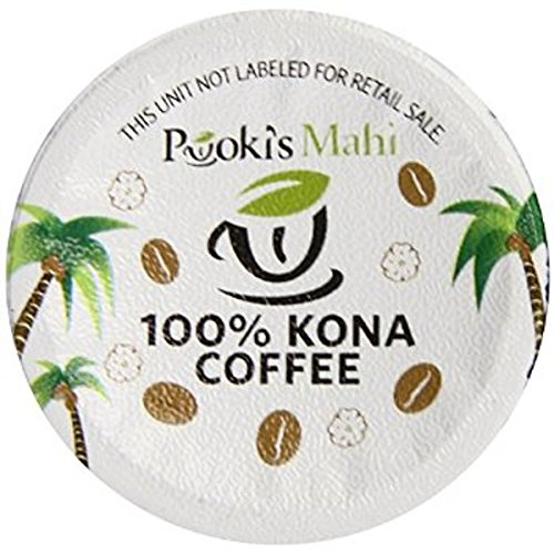 Pooki's Mahi 100% Kona Coffee, Regular, Single Serve for Keurig K-Cup Brewers, Medium Roast, 24 Count