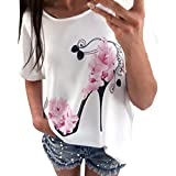 Big Promotion! Women T-Shirt ODGear Girls Summer Short Sleeve High Heels Printed Casual Loose Tops Blouse Pullover Shirts