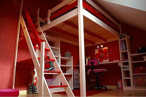 ABC MEUBLES - Hochbett Sylvia mit Treppe - 1130 - Weiß/Rot, 90x200
