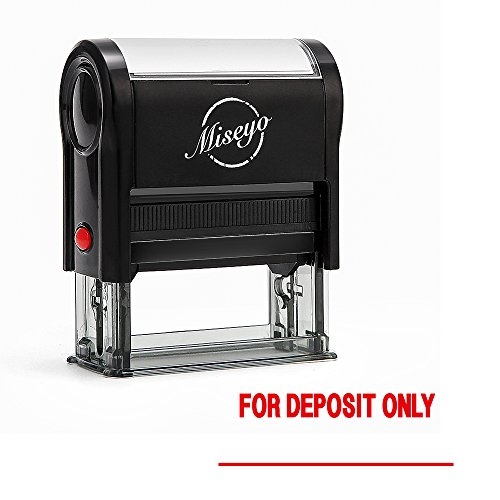 Miseyo FOR DEPOSIT ONLY Self Inking Rubber Stamp - Red Ink - Large Size - Deposit Only Rubber Stamps