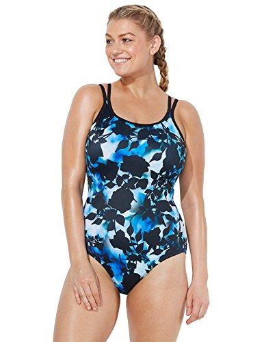 46243f58b71a8 Aquabelle Women's Plus Size Chlorine Resistant Sumatra Lingerie Strap  Swimsuit 26 Blue