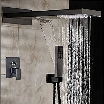 GOWE Modern Oil Rubbed Bronze Square Rain Shower Head Faucet Valve Mixer Tap Waterfall & Rain Shower Spayer