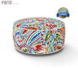 FBTS Prime Outdoor Inflatable Ottoman Red and Orange Paisley Round Patio Foot Stools and Ottomans Suitable for Kids and Adults Portable Travel Footstool Used for Outdoor Camping Home Yoga Foot Rest