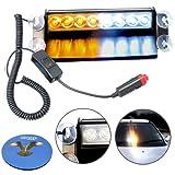 HQRP 8 LED Car / Truck Visor Dashboard Dash Deck Emergency Strobe Lights for Warning 12V 4 Amber LEDs 4 White LEDs plus HQRP Coaster