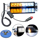 HQRP White / Amber 8 LED Visor Dashboard Emergency Strobe Caution Light with 4 Suction Cups plus HQRP Coaster