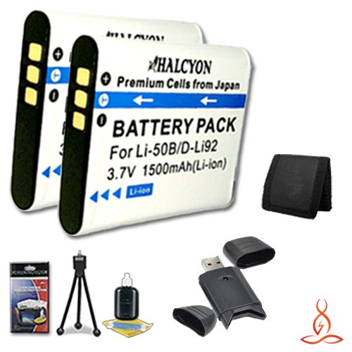 Two Halcyon 1500 mAH Lithium Ion Replacement LI-50B Battery + Memory Card Wallet + SDHC Card USB Reader + Deluxe Starter Kit for Olympus SZ-12 14 Megapixels Digital Camera and Olympus LI-50B by Halcyon
