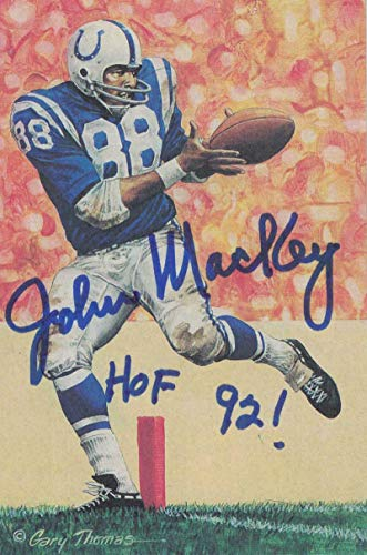 John Mackey Autographed Baltimore Colts Goal Line Art Card Blue HOF 22848 - NFL Autographed Football Cards