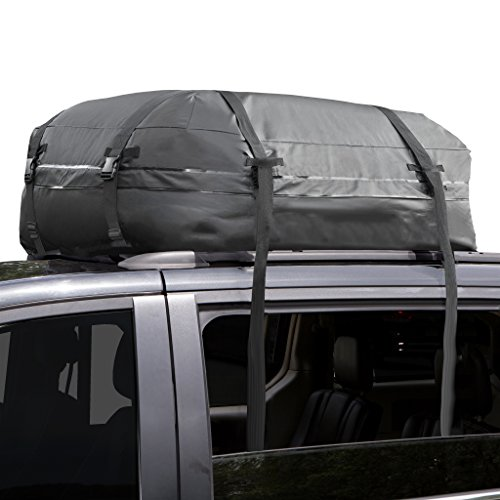 Cargo Roof Bag - 100% Waterproof - NO RACKS NEEDED - Easy to Install - Soft Rooftop Luggage Carriers with Wide Straps -Folds Easily - Best for Traveling, Cars, Vans, SUVs (Black - 15 Cubic Feet)