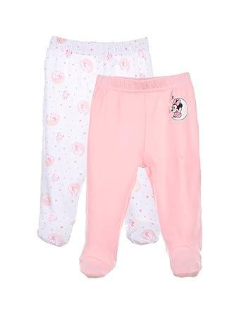 bd237d85fd3b8 Minnie Lot de 2 Pantalons à Pieds Coton bébé Fille Rose et Violet de 1 à  9mois - Blanc Rose