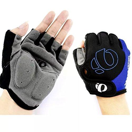 Ezyoutdoor Gloves Men's Women's Sportswear Bike Bicycle Cycling Riding Short Half Finger Gloves Breathable Mesh (blue with black)