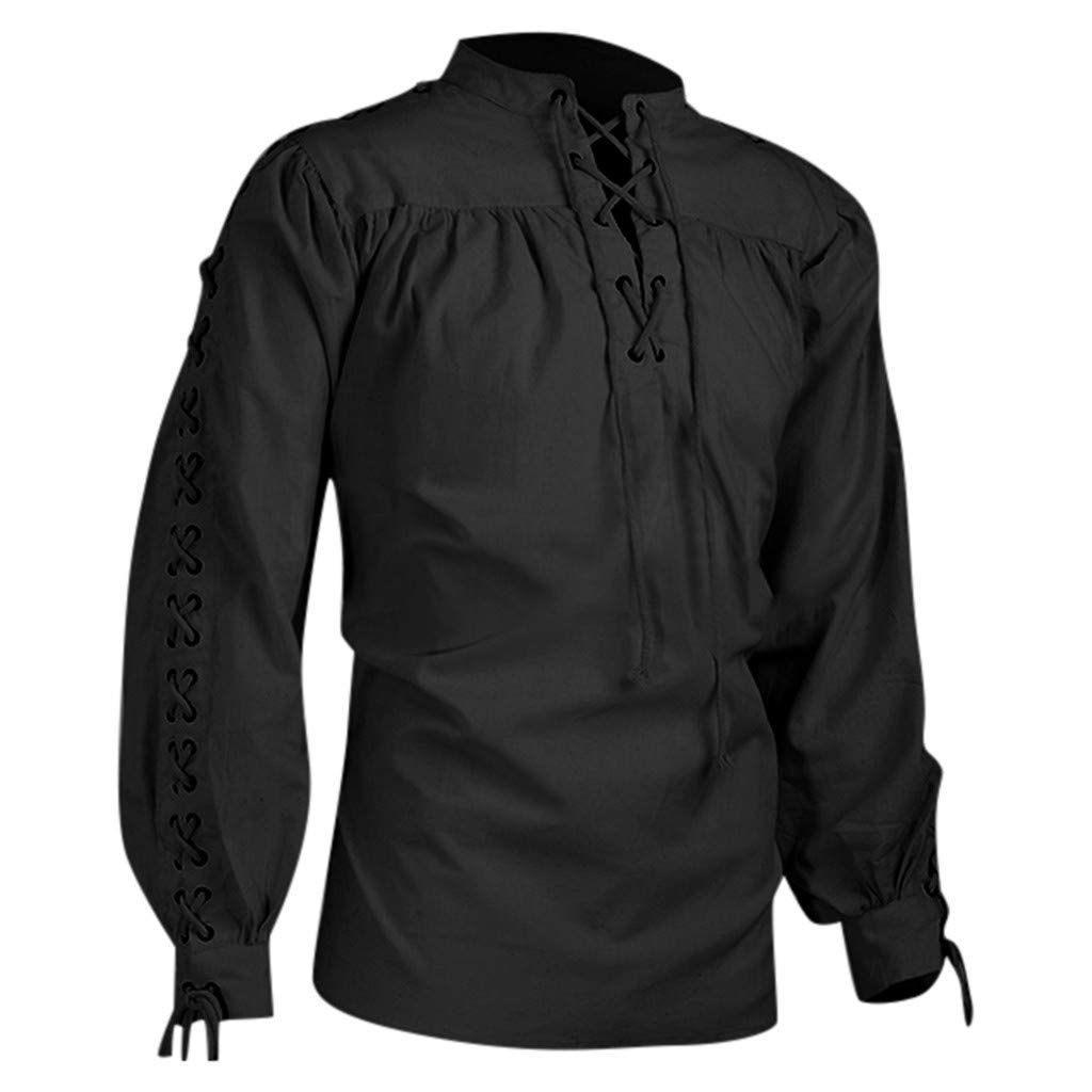 Garish Men Fashion Vintage Medieval Gothic Lace Up Shirt Pullover Male Classic Pure Long Sleeve Blouse Tops Black by Garish