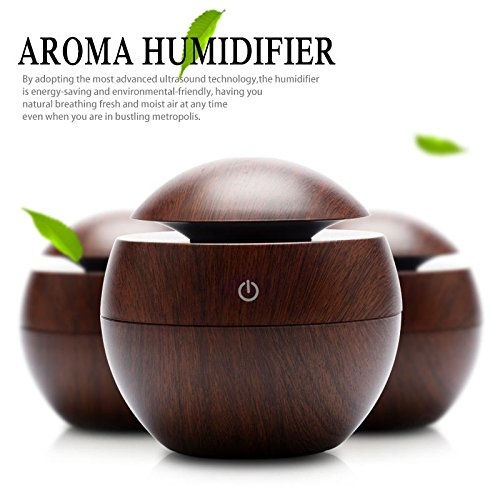 Pansupply Mini Wooden Aromatherapy Humidifier Aroma diffuser air purifier color changing Led ultrasonic mist maker humidifiers