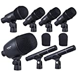 ammoon TAKSTAR DMS-7AS Wired Microphone Mic Kit for Drum Set with Standard Mounting Thread Carrying Case 1 Big Drum Microphone 4 Small Drum Microphones 2 Condenser Microphones