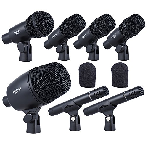 ammoon TAKSTAR DMS-7AS Wired Microphone Mic Kit for Drum Set with Standard Mounting Thread Carrying Case 1 Big Drum Microphone 4 Small Drum Microphones 2 Condenser - Small Drum Kits