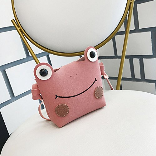 Charmly Cute Fashionable Handbag Shoulder Bags Small Coin Purse Crossbody Bags PU Leather for Children Kids Girls Toddler Baby Girls Little Girls Pink-Frog