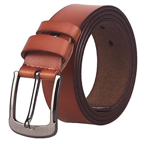 Men's 35mm Leather Bridle Belt (ZK05) (Waist :39~41, Orange) - Mens Bridle